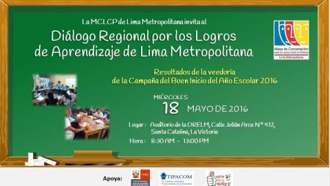 Mesa Regional de Lima Metropolitana presentará resultados del proceso de veeduría del Buen Inicio del Año Escolar 2016