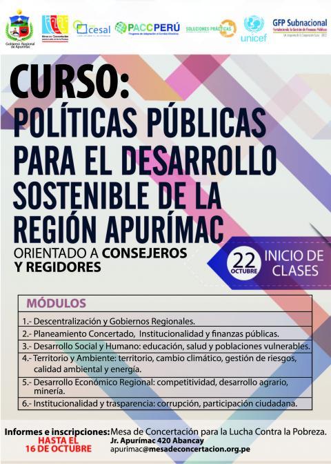 Curso de consejeros y regidores sobre politicas públicas sobre el desarrollo regional
