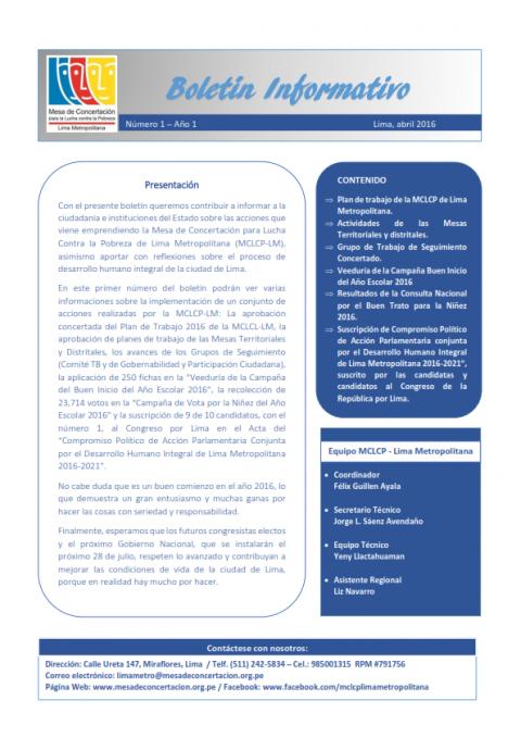 Primer Boletín Informativo de la MCLCP-LM