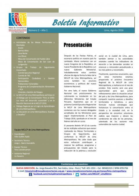 2do Boletín Informativo de la MCLCP-LM