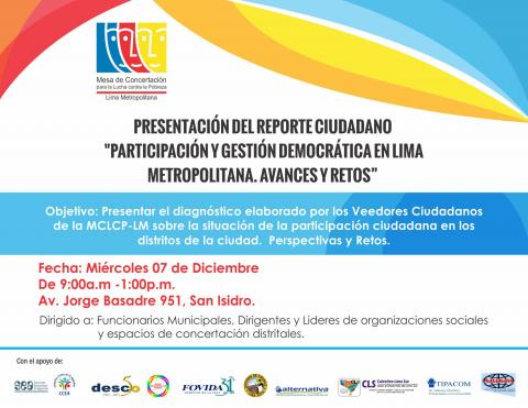 """Presentación del Reporte Ciudadano: """"Participación y Gestión Democrática en Lima Metropolitana. Avances y Retos"""""""