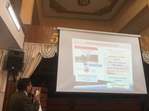 Presentacion de resultados del Reporte del Buen Inicio del Año Escolar 2016 en el COPARE Cusco
