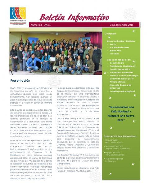 Tercer Boletín Informativo de la MCLCP de Lima Metropolitana