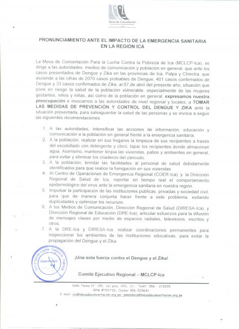 MCLCP - Ica emite pronunciamiento frente a emergencia sanitaria y aumento de casos por Dengue y brote de Zika en la región
