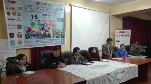 """Foro Panel """"Avances y Agenda Pendiente sobre los Derechos de las Personas con Discapacidad en la Región Pasco""""."""
