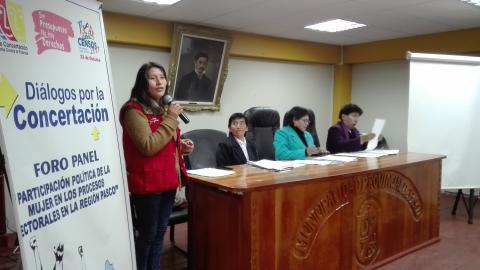 """Forum Panel """"Participación Política de la Mujer en los Procesos Electorales en la Región Pasco"""""""