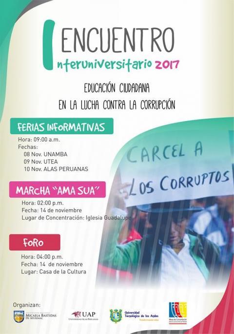 """MCLCP de Apurímac participa en I Encuentro Interuniversitario """"Educación Ciudadana en la lucha contra la corrupción"""""""