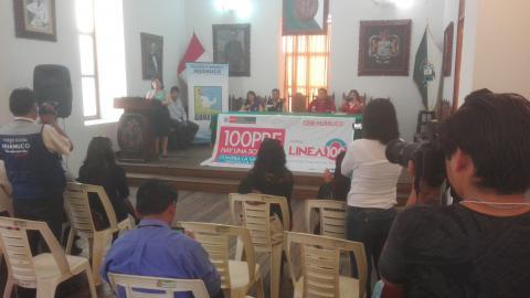 Conferencia de prensa del lanzamiento de actividades por el día internacional de la no violencia hacia la mujer.