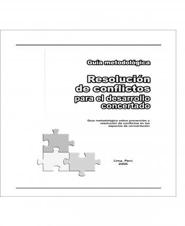 Guía metodológica - Resolución de conflictos para el desarrollo concertado