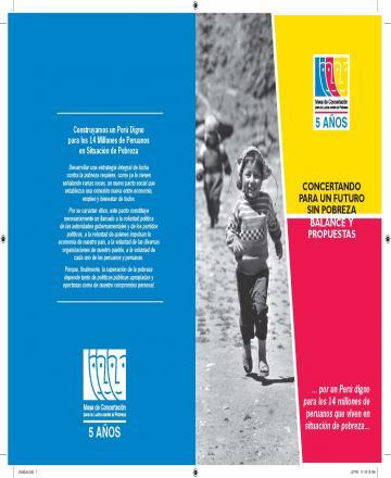 Concertando para un futuro sin pobreza - Balance y propuestas